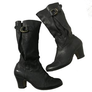 POETIC LICENSE Black Slouchy Leather Short Boots